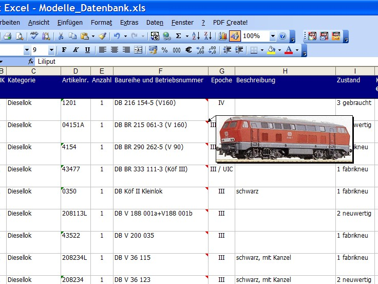 Bild 1: Die fertige Datenbank (Ausschnitt)
